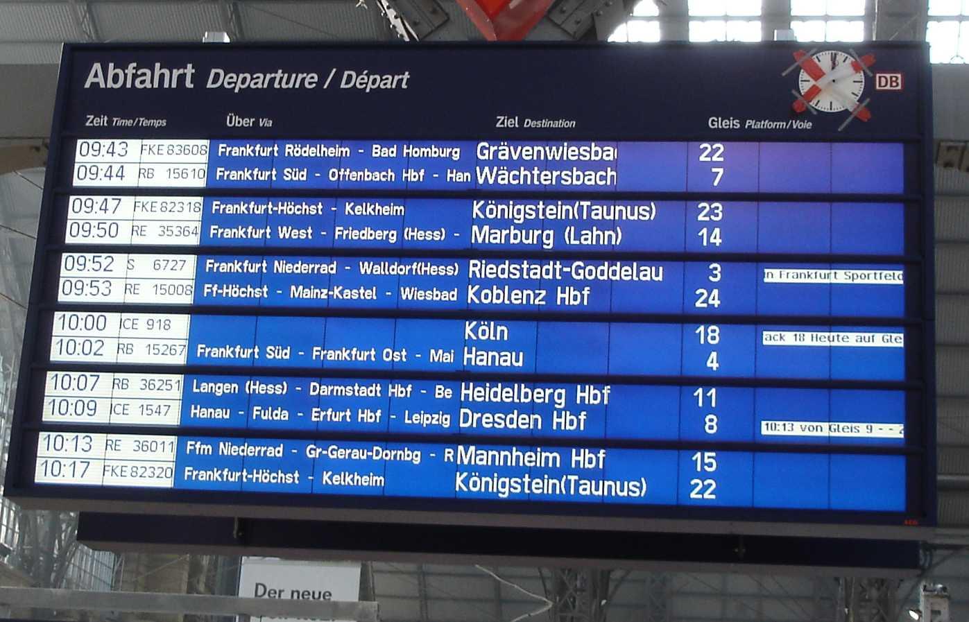 Kommunikationsdesign neue anzeigetafel im hauptbahnhof for Kommunikationsdesign frankfurt