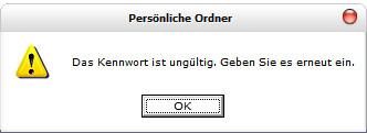 Passwort ungültig