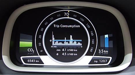 """CO-2-Anzeige im Display des neuen """"VW up!""""; Bild © Endl 2007"""